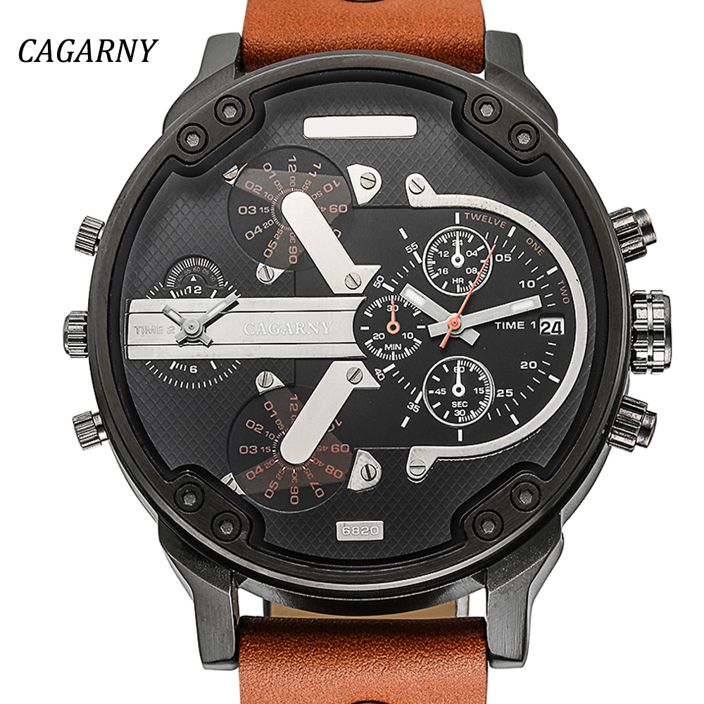 Prix pour De luxe hommes de montres hommes montre à quartz double affichage de l'heure montre cagarny homme sport militaire mode montres relogio masculino