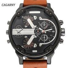 Los Hombres de lujo Relojes de Los Hombres Reloj de Cuarzo de Doble Pantalla Tiempo Reloj CAGARNY Hombre Deporte Militar Relojes de pulsera de Moda Relogio masculino