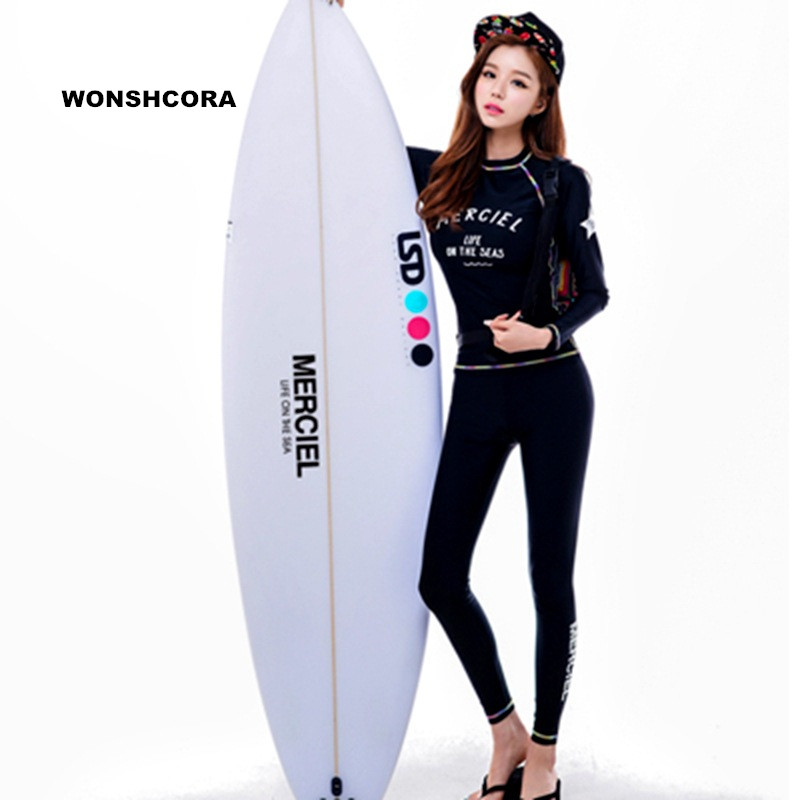 WONSHCORA Surf Wetsuit Long Sleeves Underwater Hunting Scuba Diving Equipment Sunscreen Korea Costumes for Women Swimwear Trunks