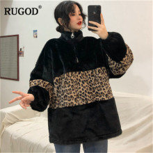 RUGOD New Fashion Leopard Women Sweatshirt Turtleneck Casual Women Pullovers Plus Size Knitted Winter Clothes pull femme hiver