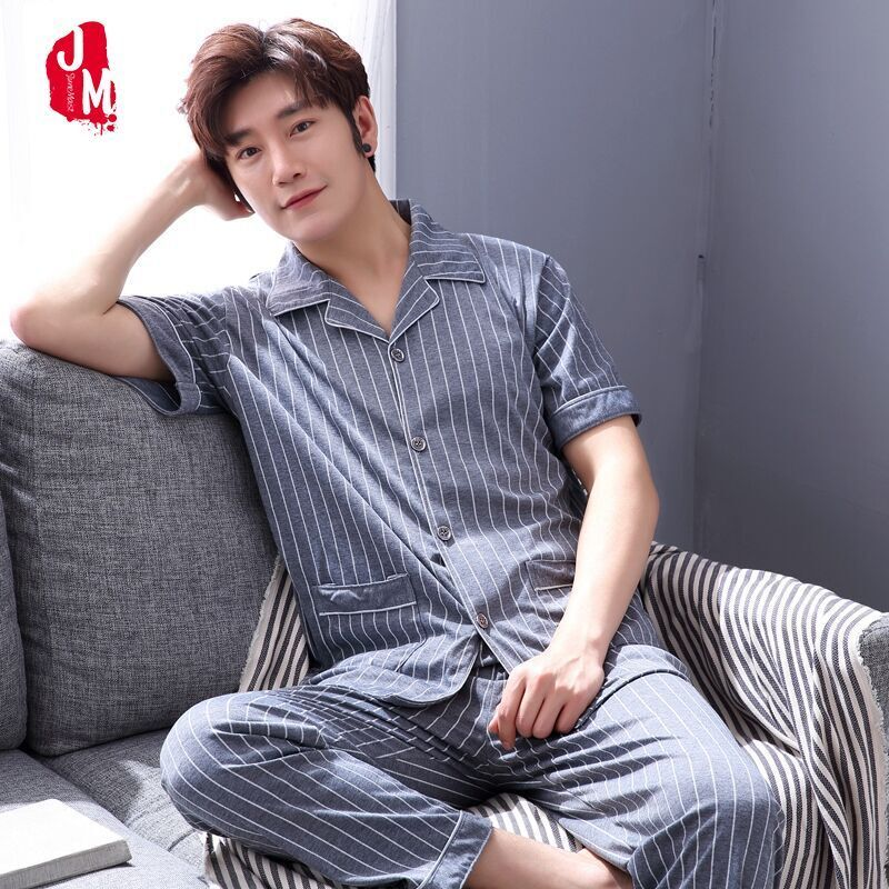 Man Pajamas Summer Thin Short Sleeve Trousers Enlarge Code Middle Age Male Fund Summer Pure Cotton Youth Home Furnishing Suit