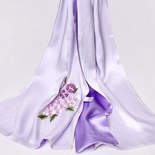 Ручной работы вышивка натурального шелка шарфы 16mu 100% чистый