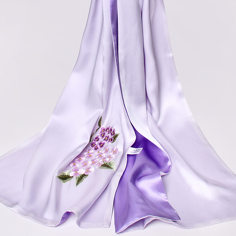 Handmade Embroidery Real Silk Scarves 16MU 100% Pure Silk Scarf 2019 Shawls and Wraps for Women Flower Natural Silk Scarf