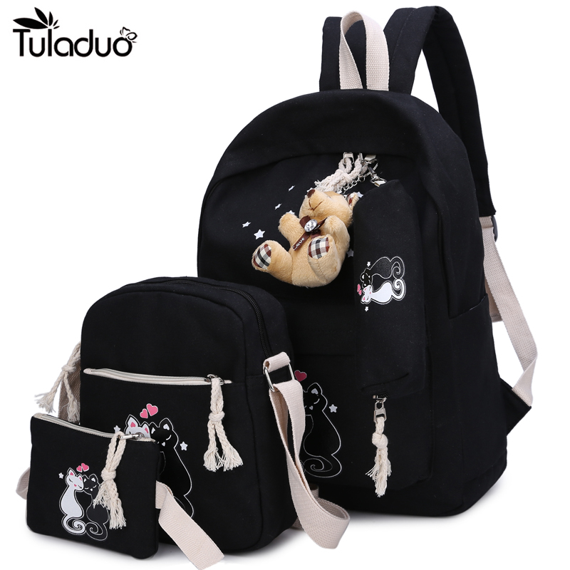 3Pcs/Sets 2018 Women Canvas Backpack Cartoon Cat Printing School Backpack For Girl Teenagers Students Casual Cute Travel Bags