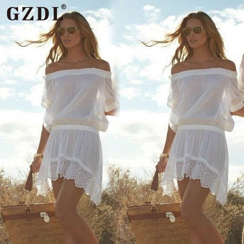 93bbb963de GZDL Women Strapless Off Shoulder Dresses Crochet White Sexy Casual Loose  Chiffon Sheer Summer Beach Mini Dress Vestidos CL2997