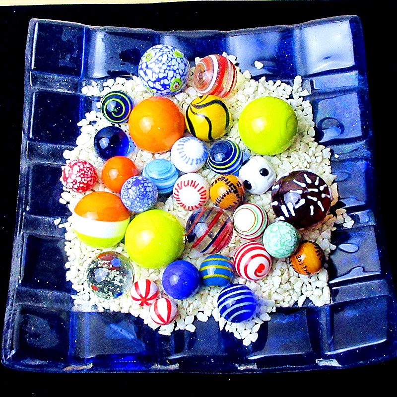 30pcs Custom Multi Color Hand Made Glass Ball Fairy Garden Charms Decoration Mixed Glass Marbles Ball Ornament Toys For Children