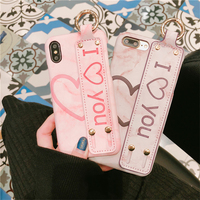 Cute Heart Marble Phone Case For Iphone6 6S Plus Wristband Matte Hard Bracket Back Cover Cases