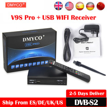 [Genuine] 10pcs DVB-S2 Satellite TV Receiver Support Spain PowerVu Bisskey 1080p HD Youtube Youporn V9S Pro DVB TV Box +USB WIFI