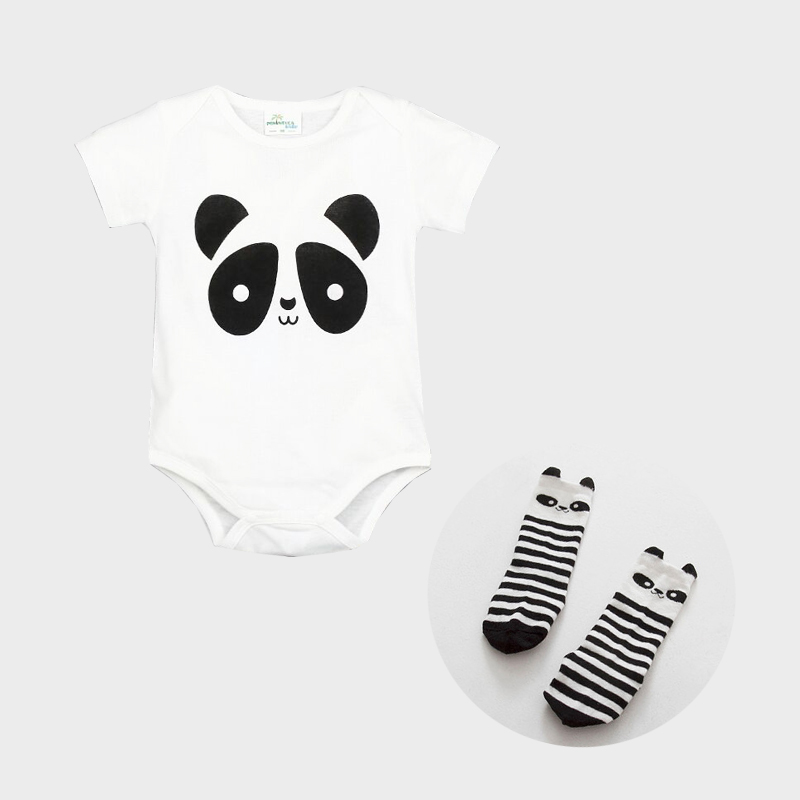 Toddle Baby Triangle Romper Jumpsuit Cotton Short Sleeve Cartoon Panda With Stockings Newborn Baby Romper Clothes For 0-2T PD902