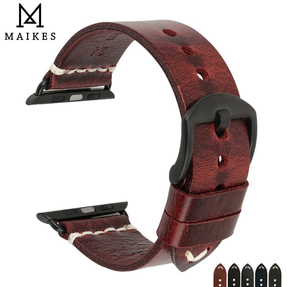 MAIKES New Arrival Real Genuine Leather Vintage Changeable For Apple Watch band Accessories 38/42mm iWatch Apple Watch Strap