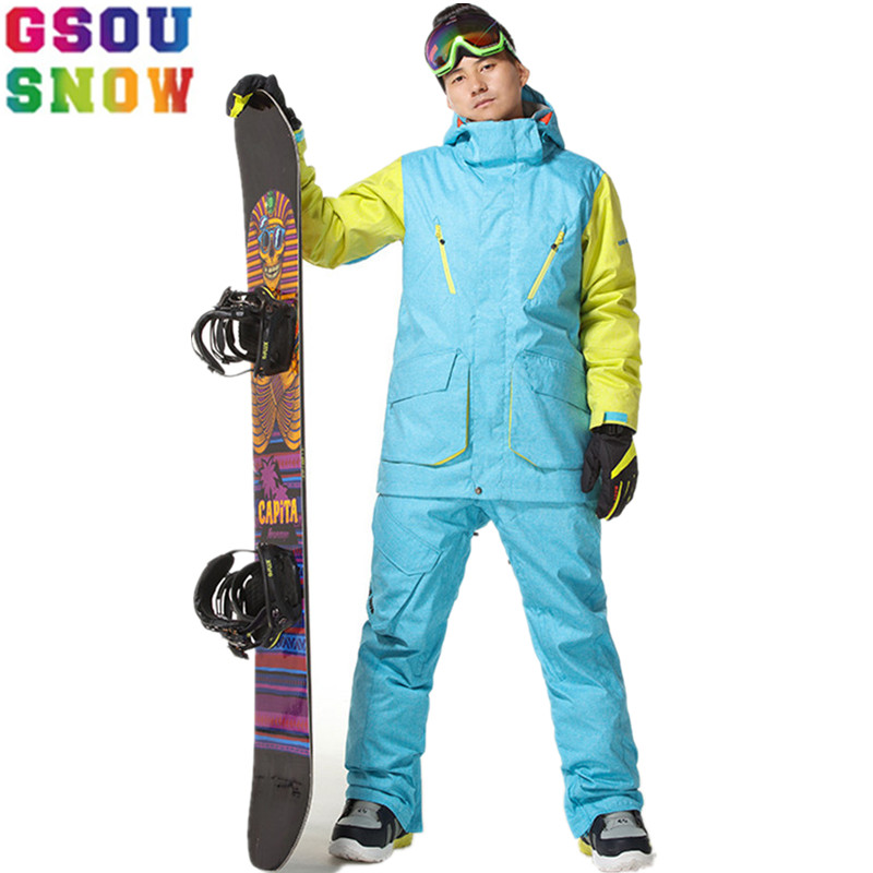 Gsou Snow Professional Ski Suits Men Snowboard Jackets Winter Ski Pant Waterproof Breathable Mountain Skiing Snowboarding Sets