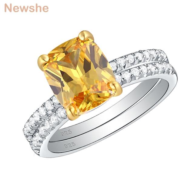 Newshe 2.7Ct黄色クッションカット固体 925 スターリングシルバーの結婚指輪婚約指輪ブライダルセット