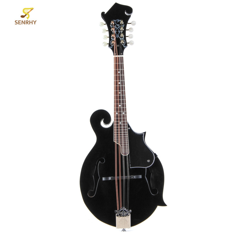 SENRHY F Style 8 Strings Black Mandolin With Rosewood Steel String Adjustable Bridge Music Instrument With Bag And 2 Picks