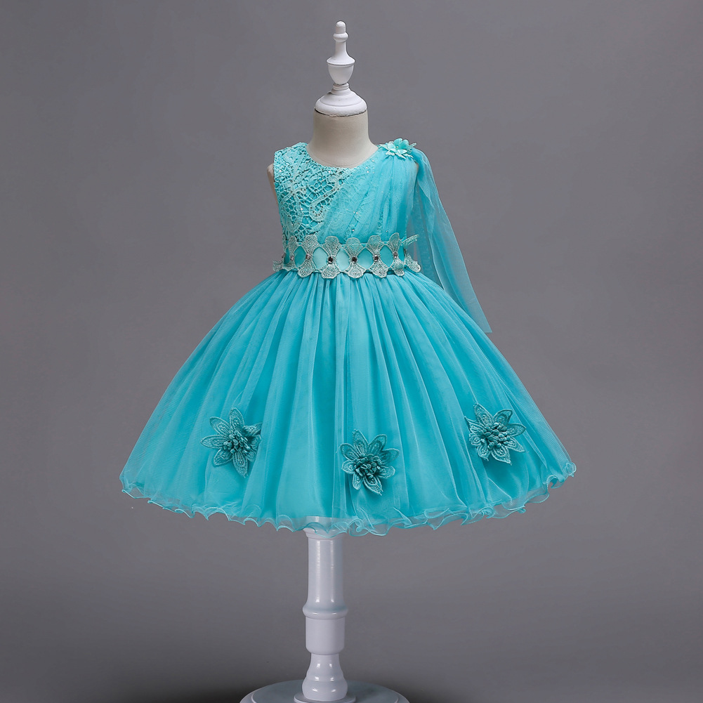 Turquoise Red Pageant Gown Sash Rhinestone Short Children Wedding