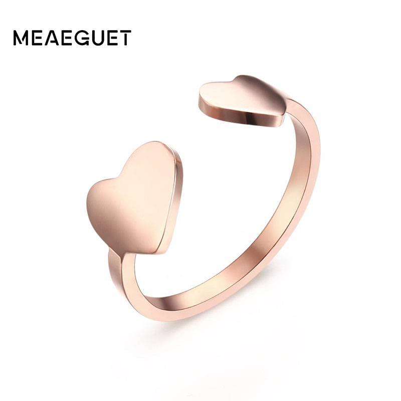 9e5e8d3a89c5 Meaguet romántico ajustable doble corazón Anillos Rosa oro apertura del  dedo del pie anillo para mujer Anillos regalo joyería