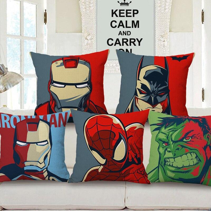 Cartoon Spiderman Hulk Iron Man Cotton Linen Cushion Cover