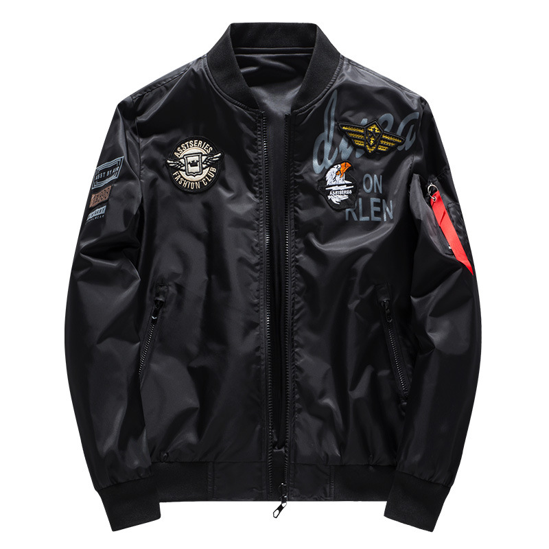 Image 4 - Male Bomber Jacket Men Army Military Pilot Jacket Badge Embroidery Baseball Jacket Double Sided Motorcycle Coat Big Size 5XL 6XL-in Jackets from Men's Clothing