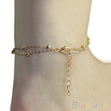 2014 New Fashion Sexy Double Chain Anklet Bracelet Ankle Chain Hand Chain Foot Jewelry Barefoot Beach 01G4