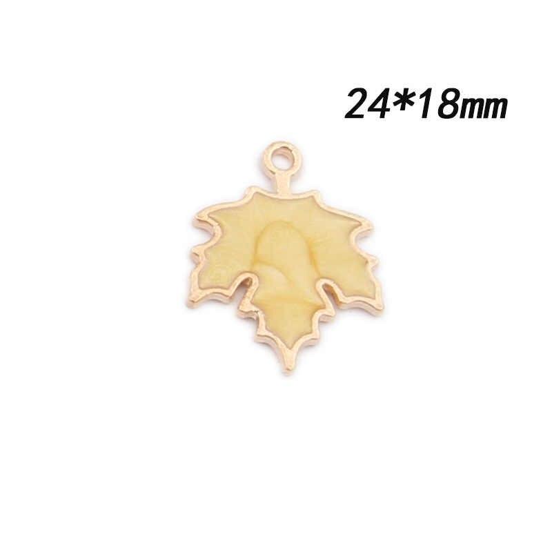 10 шт. 24x18 мм ручной работы эмаль кленовый лист Подвески Аксессуары для ювелирных изделий для серьги ожерелье DIY материал оптом