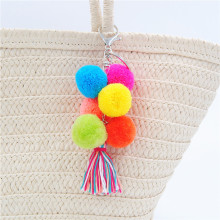 1pc Colorful Boho Tulle Pom Pom Key Chain Bag Accessories Tassel Bag Purse Rainbow Charm Keychain Gift