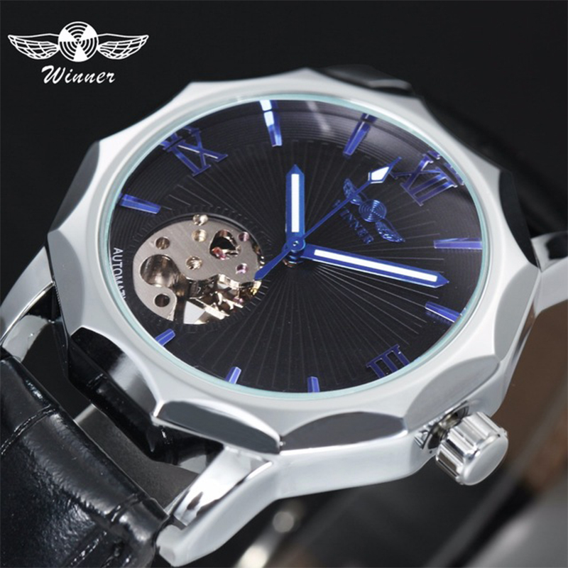 Winner Luxury Geometry Design Men Classic Automatic Mechanical Watch Self-Winding Skeleton Black Leather Strap Wrist Watch Clock winner dress classic men automatic mechanical watch stainless steel strap blue roman number transparent case design wrist watch