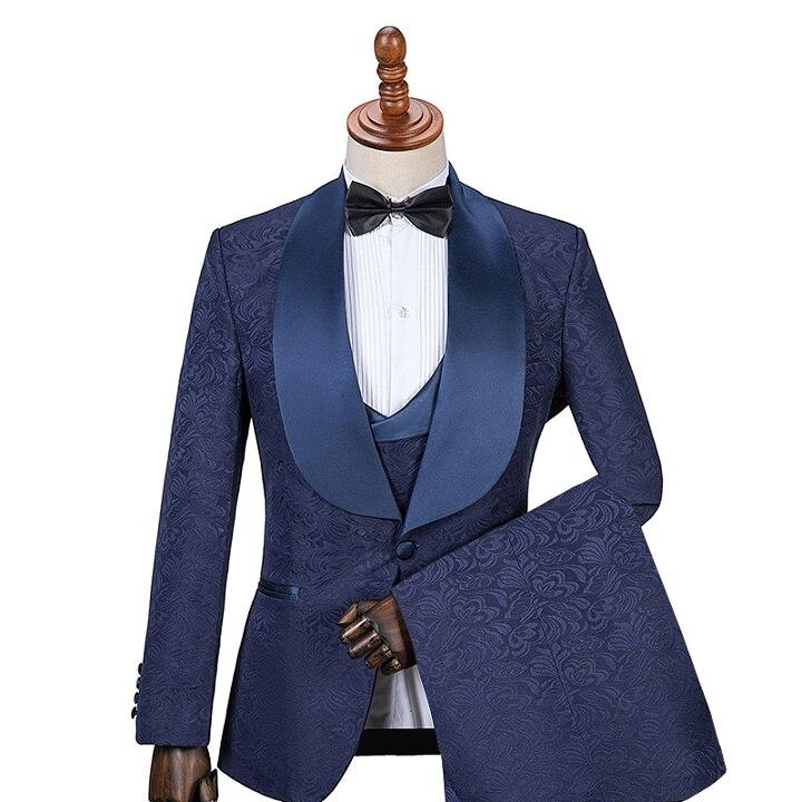 GwenhwyfarMens costumes avec imprimé marque bleu marine hommes Floral Blazer conceptions hommes Paisley Blazer Slim Fit costume veste hommes mariage-in Costumes from Vêtements homme    1