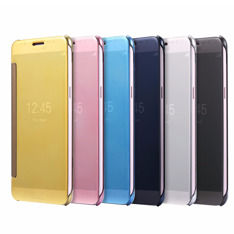 Case pour xiaomi redmi note 4 smart cover flip window view galvanoplastie miroir lisse ultra mince dur case pour redmi note 4