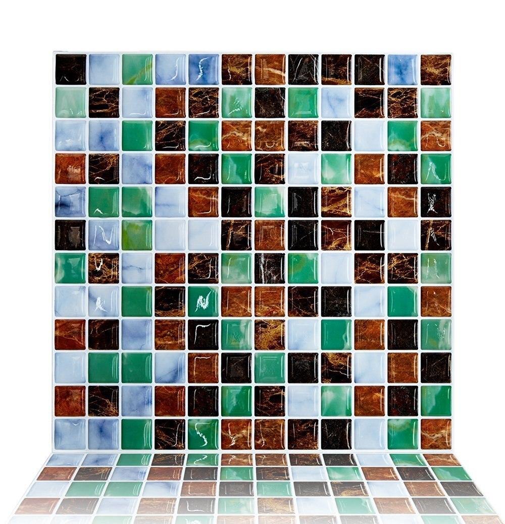 Cocotik Backsplash Tile for Kitchen Marble Square Peel and Stick Tile, Adhesive Vinyl Wall Tiles, 10