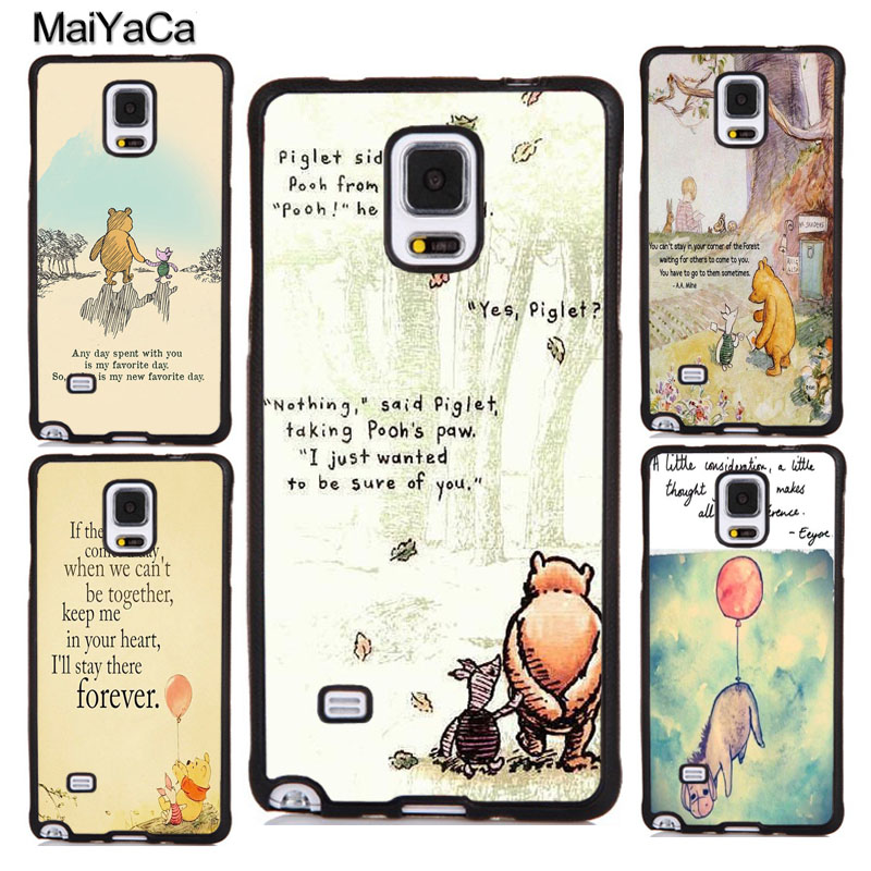 MaiYaCa Winnie the Poohs Quotes Phone Cases Cover For Samsung Galaxy S5 S6 S7 edge plus S8 S9 plus Note 5 8 Soft TPU Skin Coque