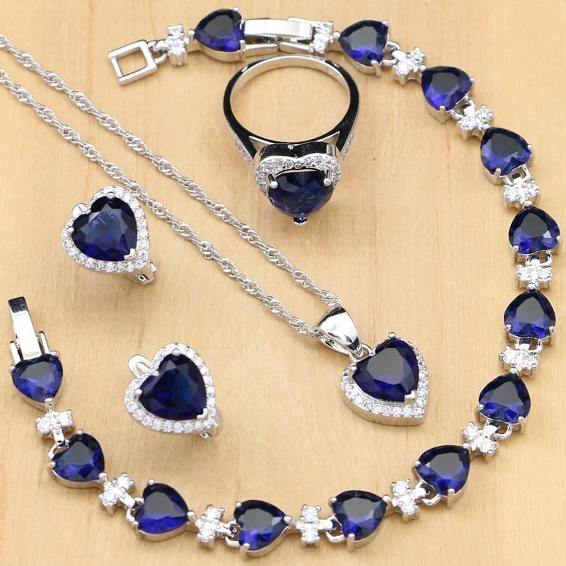 Heart Blue Cubic Zirconia Jewelry Sets Silver Bridal Jewelry Docoration For Women Wedding Earrings Rings Bracelet Necklace Set