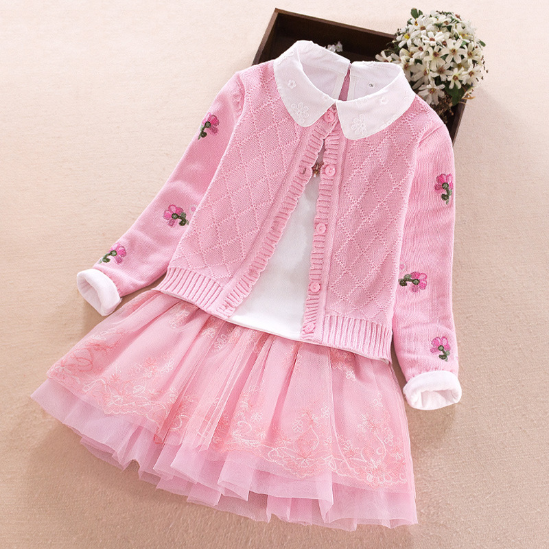 BAHEMAMI Girls Cotton Sweater Loose Coat Spring And Autumn 2018 New Children's Baby Princess Dress Set Three-piece Girls Clothes girls cotton set 2018 spring new child embroidery lapel sweater bottoming shirt skirt sweater three piece