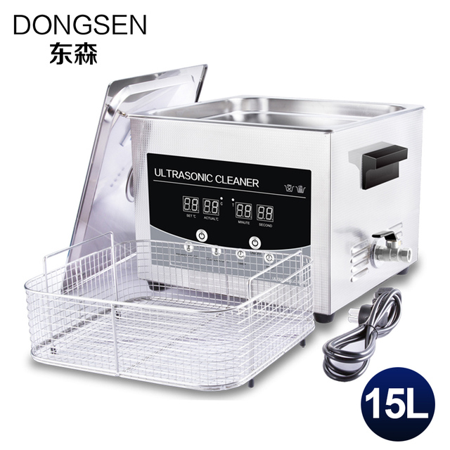 Ultrasonic Cleaner 15L Bath Bicycle Motor Auto Engine Parts Hardware PCB Board Lab Equipment Heater Timer Ultrasound Bath