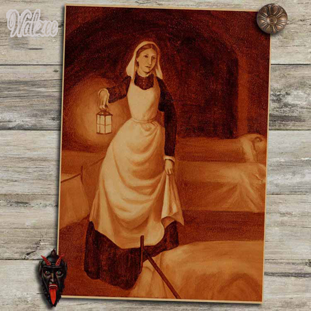 Nightingale Lady With The Lamp Nurse Celebrity Retro Poster Portrait  Classroom Posters Library Hospital Portrait Decoration
