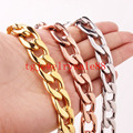 Top Sale 15mm Wide Cool Mens Cuban Curb Link Chain Bracelet/Necklace Silver/Gold/Rose Gold Tone Stainless Steel Jewelry 7-40""