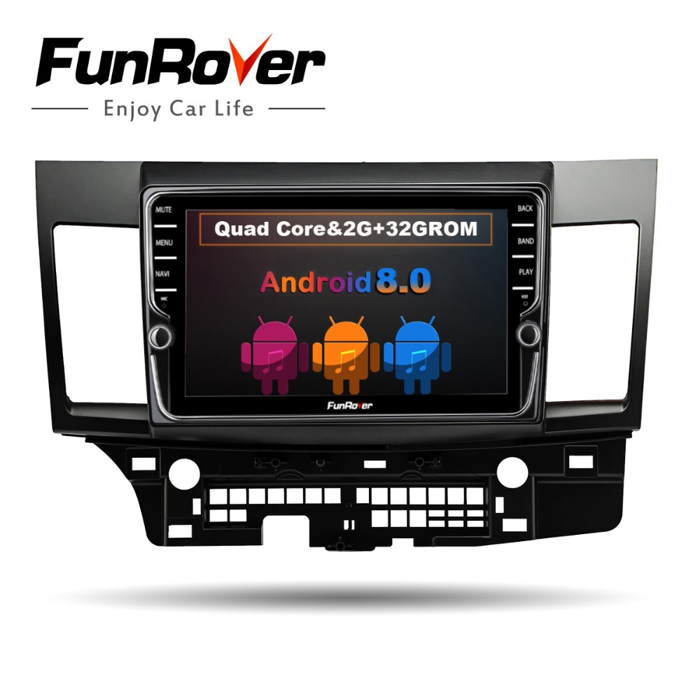 Funrover Android 8.0 2 din Car DVD GPS stereo multimedia for MITSUBISHI LANCER 2007-2016 headunit video player wifi BT Radio IPS image
