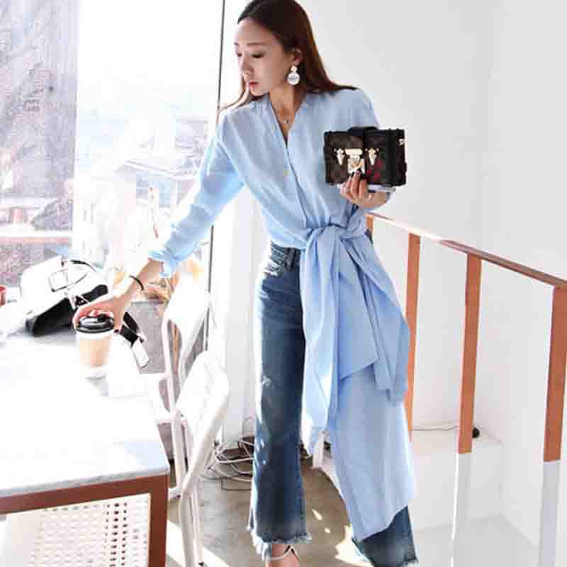 6a1511817d839 ladies long shirt side slits plus size white woman autumn button for women  casual boyfriend oversize womens shirt