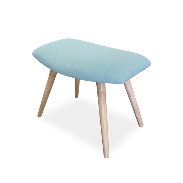 Home Wooden Low Stool Upholstered Textile Fabric Seat Bench Chair For  Modern Living Room Furniture Ottoman
