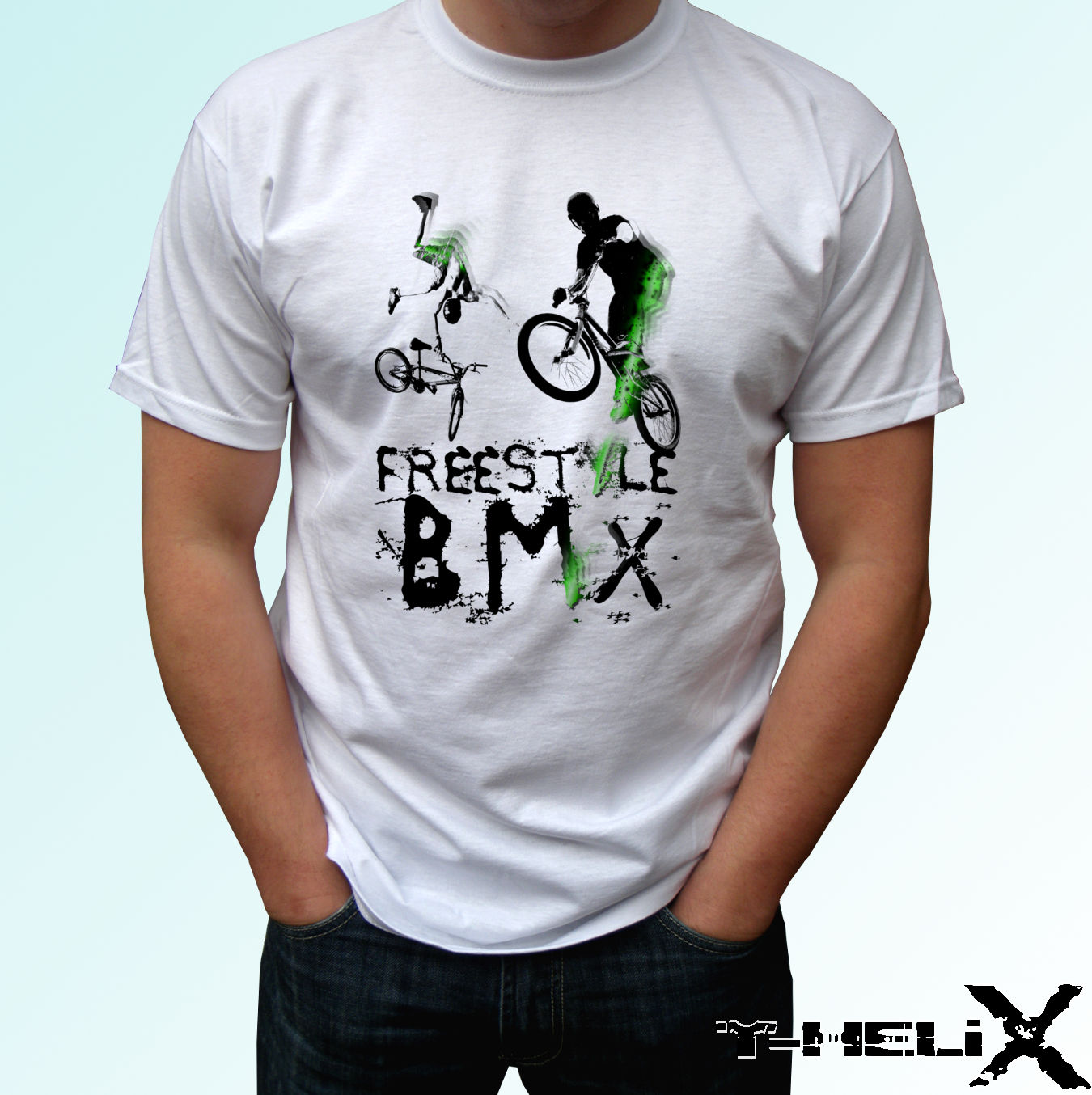 2961927e Freestyle BMX - white t shirt top sport design - mens womens kids baby sizes  Casual