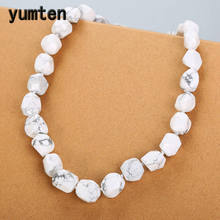 Yumten White Turquoise Necklace Women Jewelry Crystal Bohemian Classic Natural Stone Beads Power Symbols Reiki Healing Female(China)