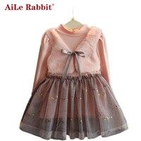 AiLe Rabbit New Winter Baby Girl S Dresses Children Clothing Princess Dress Pink Long Sleeve Wool