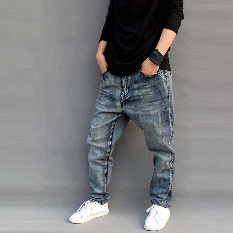 3341cd65789 ... Новые модные джинсы мужские свободные шаровары слегка стрейч большие  размеры скейтборд мешковатые мужские Trousres хлопок ...