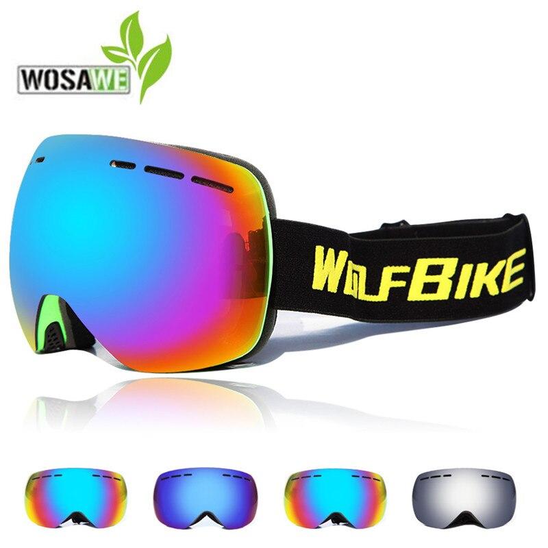 WOSAWE Ski Goggles 2018 Professional Double Lens Anti-fog UV400 Big Ski Glasses Skiing Snowboard eyewear Men Women Snow Goggles
