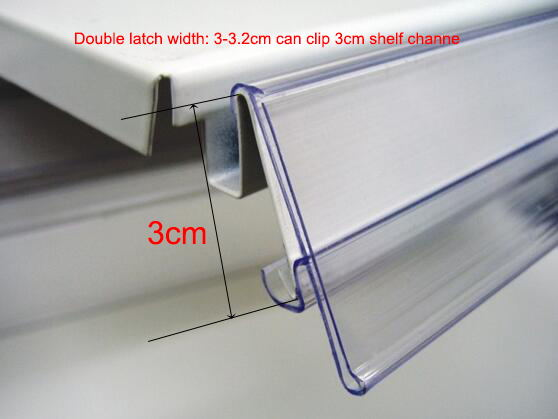 Double latch Shelf Mounted Sign Banner Cover Shelf Edge Price Tag Display Label Holder Merchandise Info