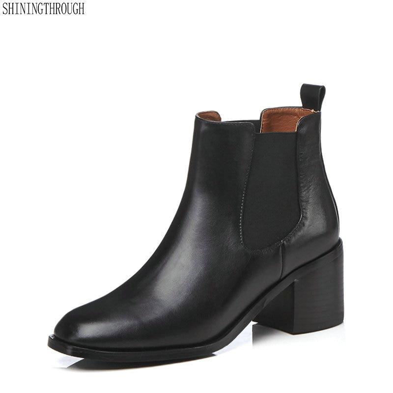 bf3ffd1512c1b8 Femme Cm Épais Cuir Dames Casual Haute En marron Noir Bottes Automne 41  Cheville 6 Vache Chaussures Printemps Nouvelle Talons ...