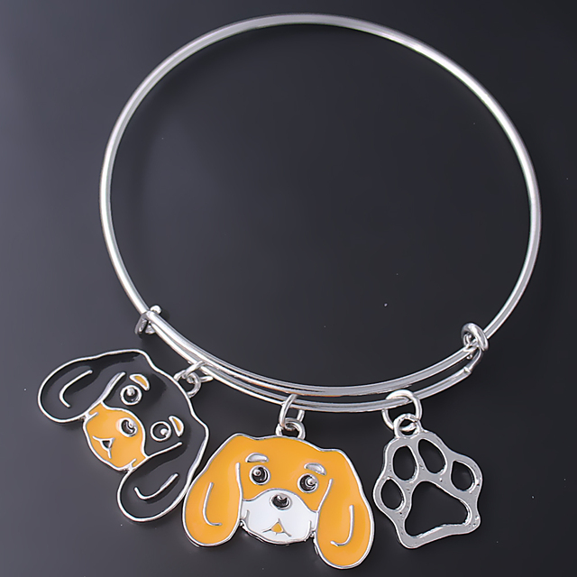 Us 5 22 Fashion Pet Dog Metal Pendant Jewelry Bracelet Cavalier King Black And Tan Paw Print Charm Bangle Dropship In Chain Link Bracelets