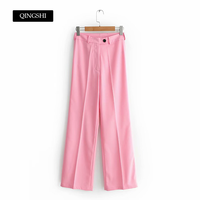 New Summer Womens   Pant   Trousers High Waist Loose Pink   Pants   Yellow Pantalon femme Casual Office Lady   Pants     Capris   Mom   Pants   2019