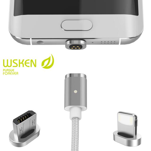 Cabo adaptador de carga magnética para iphone 7 6 wsken 6 s plus 5S se para samsung s7 s6 edge liga de alumínio shell led cabo do carregador