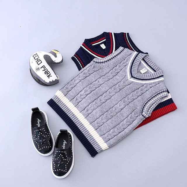 Kids Winter Autumn Sweater Boys Vest V-neck Cardigan Waistcoat Children Clothing Cotton Sweaters Vest Baby Infant Boy Outfits