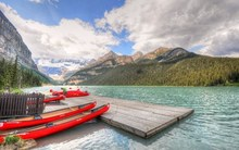 Lake Louise Banff National Park Alberta Canada mountains clouds forest lake boat 4 Sizes Wall Decor Canvas Poster Print(China)