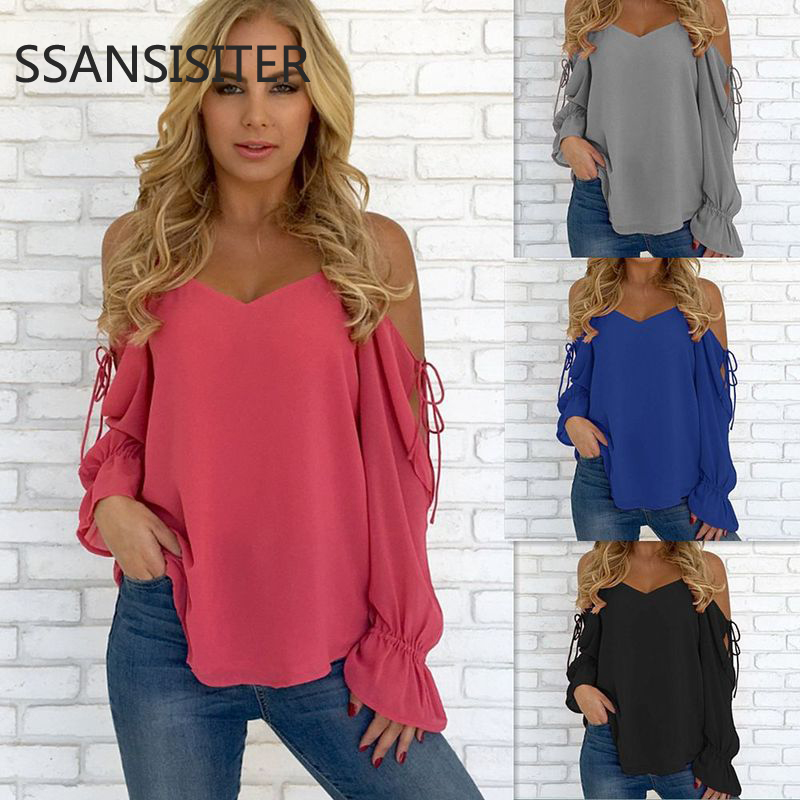 Women Chiffon Pullover Shirts Lady V-neck Sexy Hollow Out Bandage Long Sleeve Shirt Ladies Loose Tops Shirt Casual Blouse